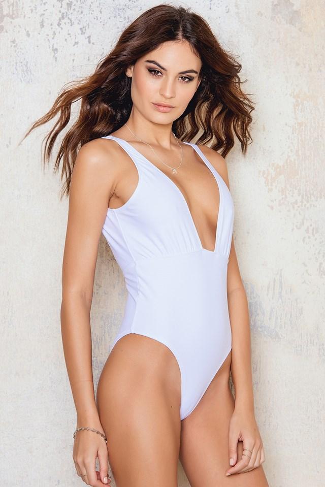 Plunge Swimsuit White