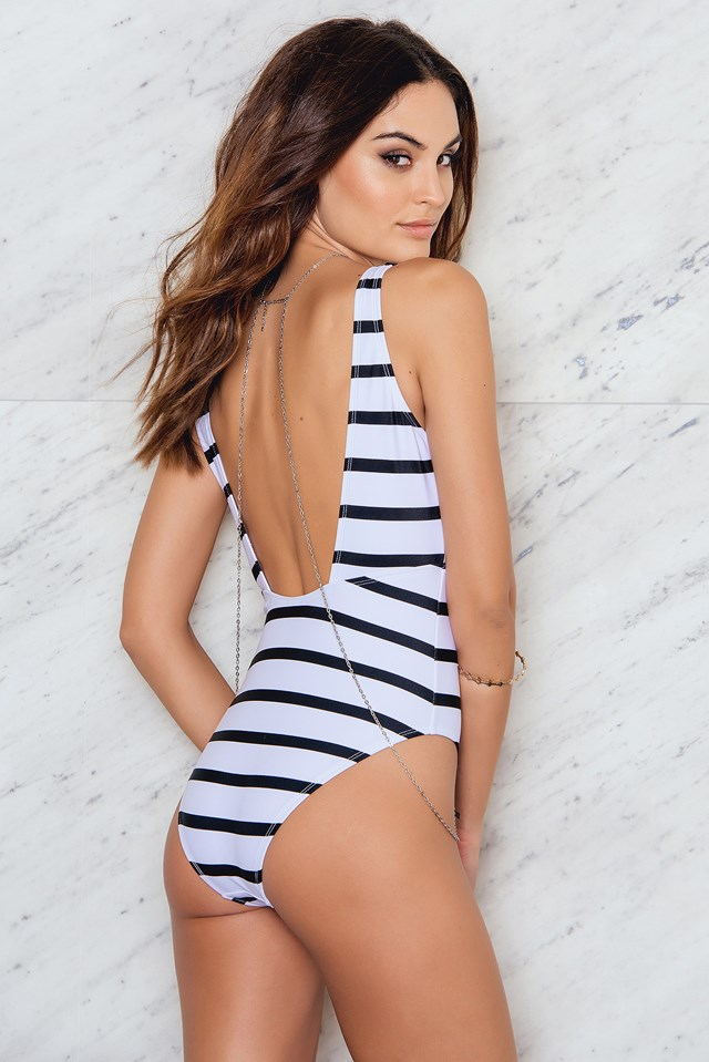 Plunge Swimsuit Stripe