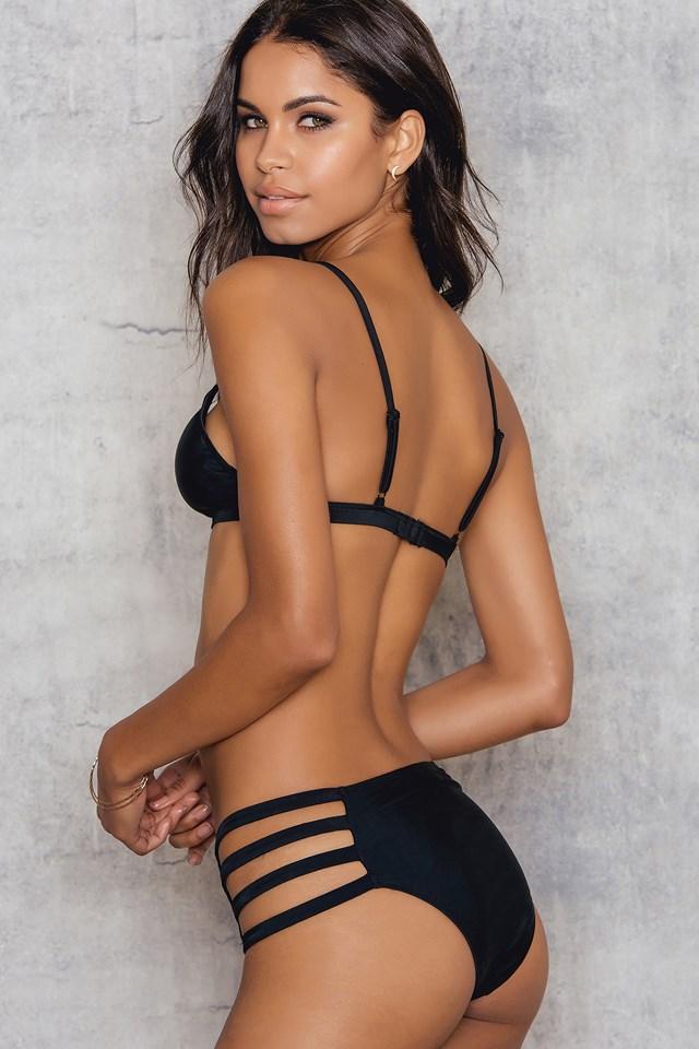 Highwaist Strap Bikini Bottom Black