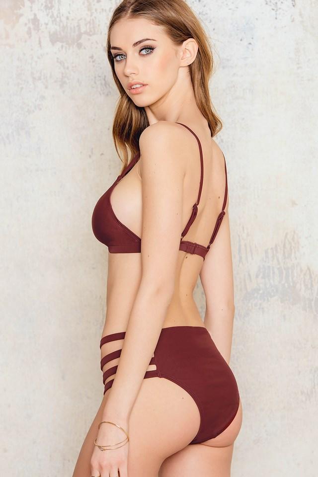 Highwaist Strap Bikini Bottom Dark Red