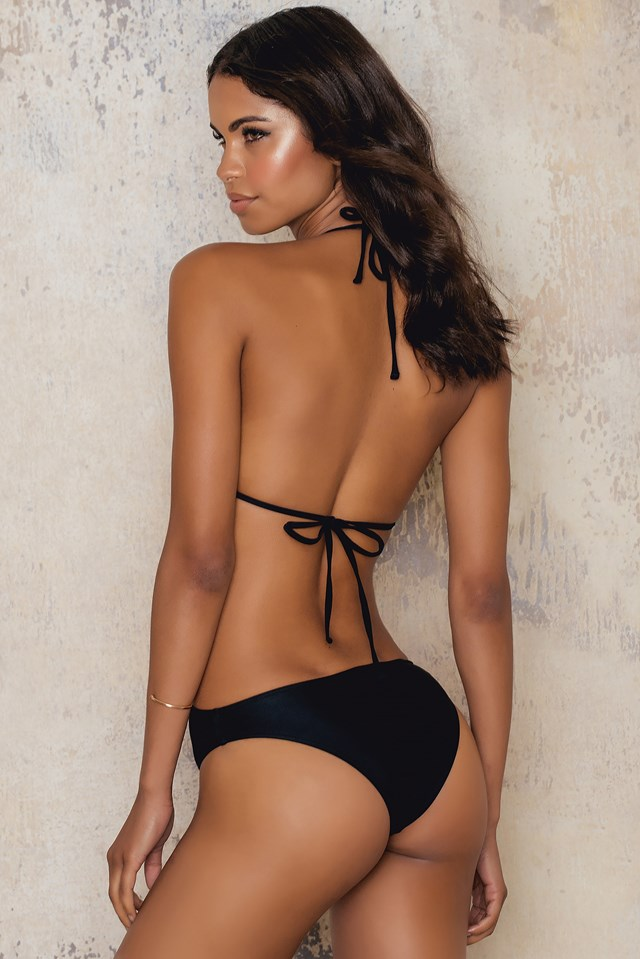 X Front Strap Swimsuit Black