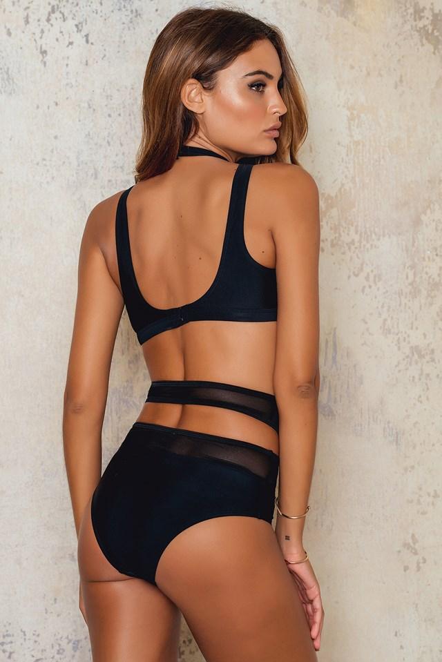 Mesh Choker Bikini Top Black