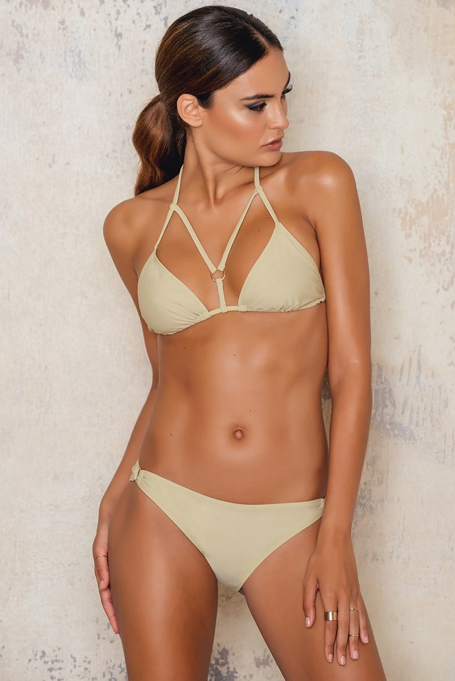 Strap Triangle Bikini Top Dusty Light Green