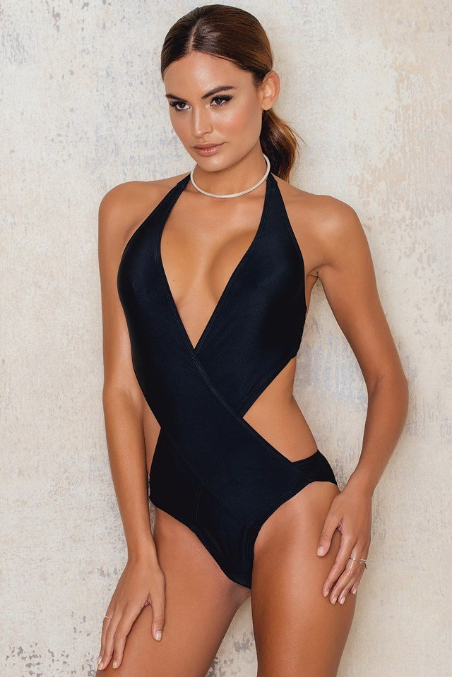 Wrapped Front Swimsuit Black