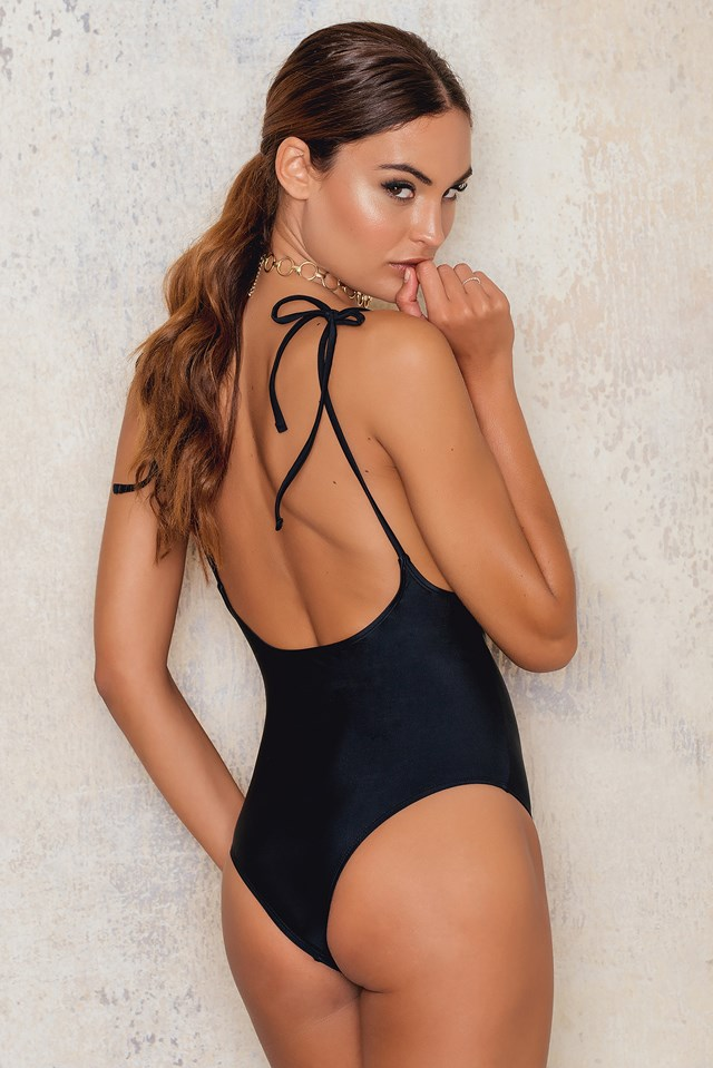 Deep Back Tied Strap Swimsuit Black