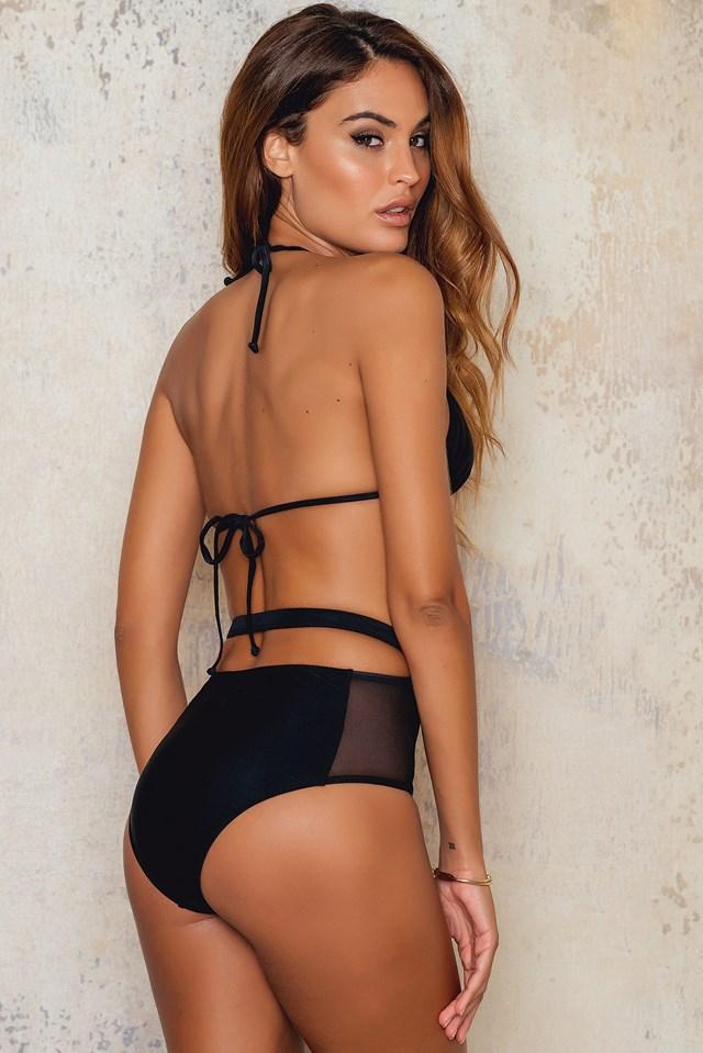 High Waist Mesh Bikini Bottom Black