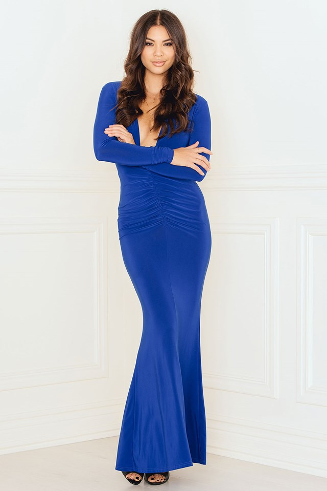 Deep V Ruched Maxi Dress with Open Back Blue