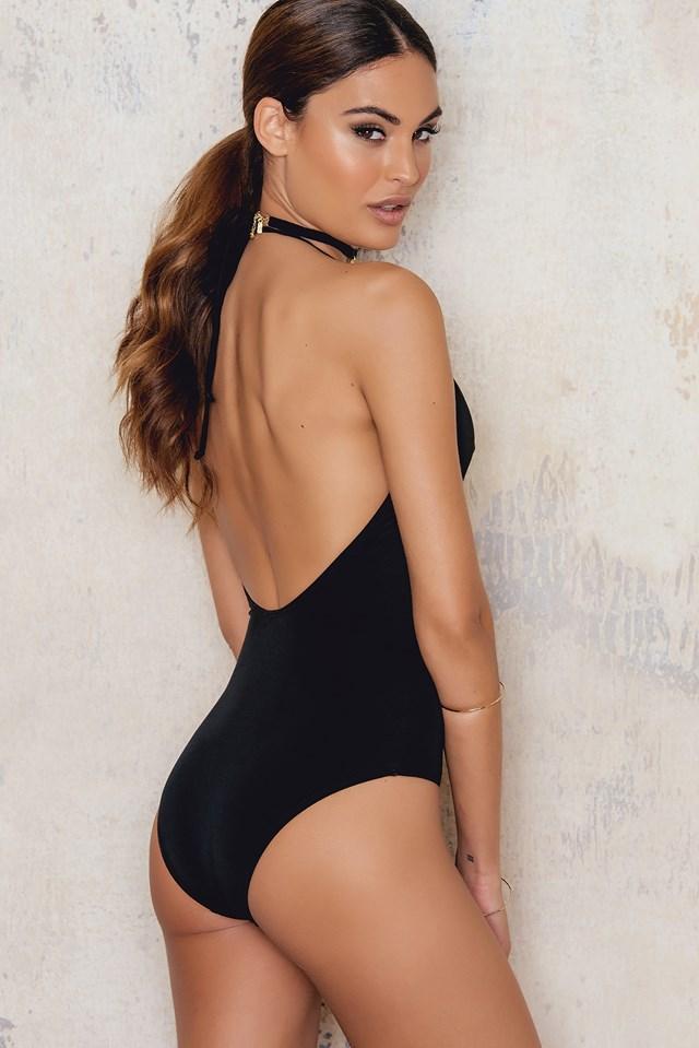 Deep Front Swimsuit Black