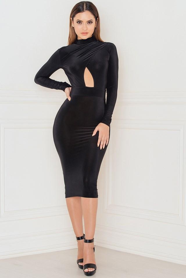 Long Sleeve Keyhole Open Front Midi Dress Black