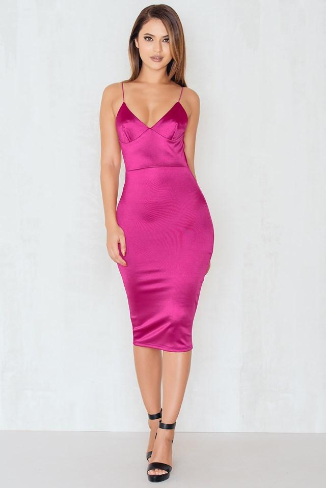 Up All Night Satin Slip Midi Dress Berry