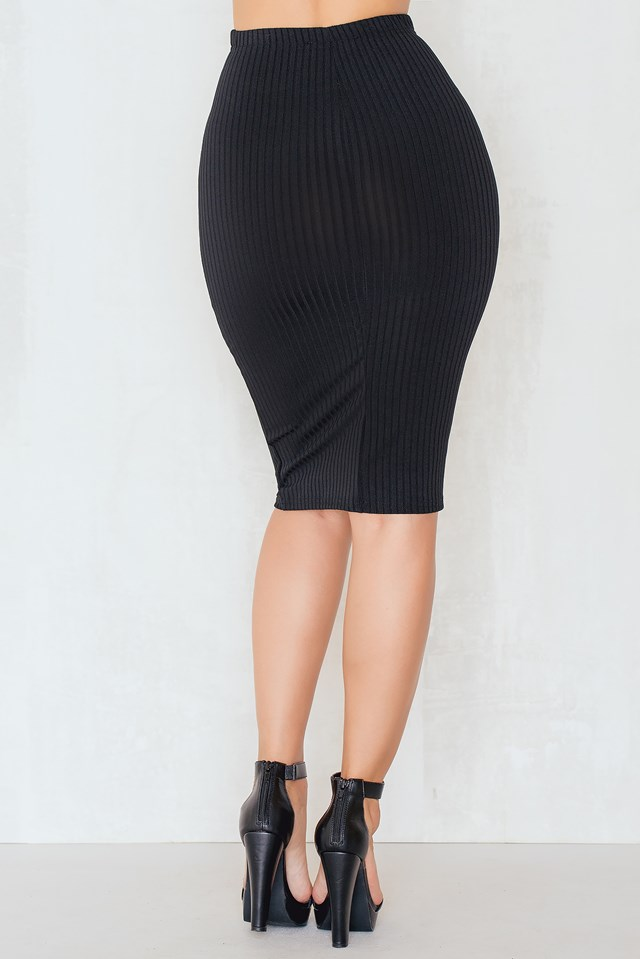 Ribbed the Right Way Midi Skirt Black