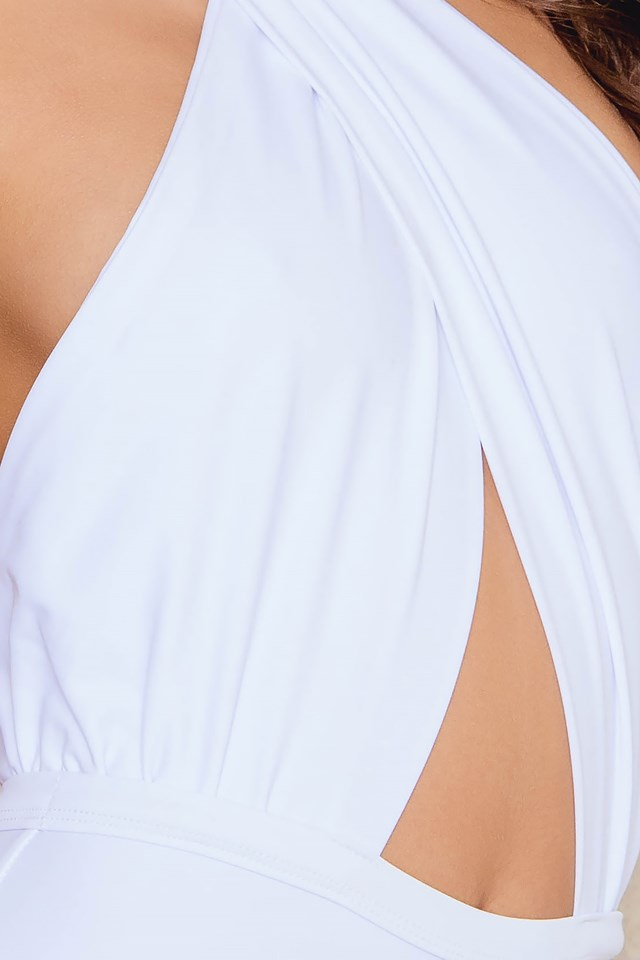 High Neck Swimsuit White