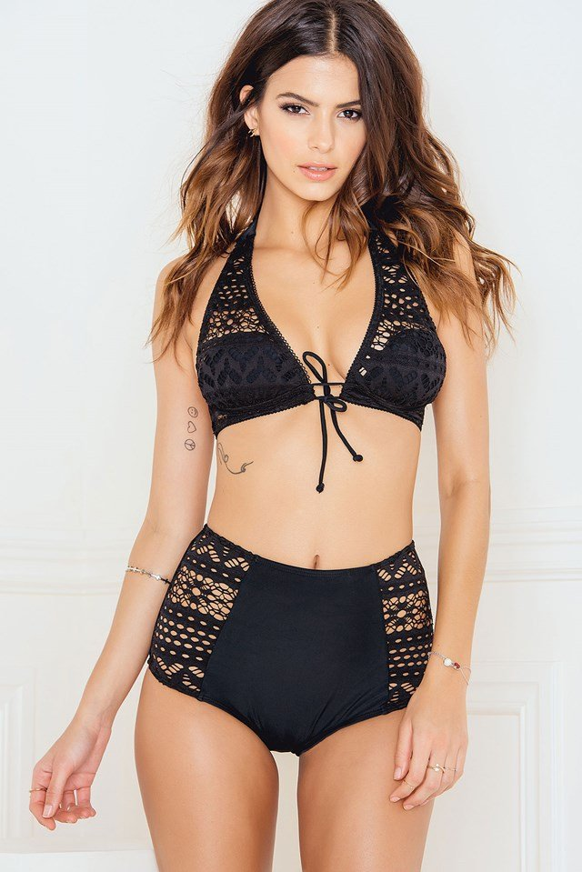 High Waist Crochet Panty Black
