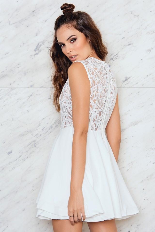 Lace Frill Dress White