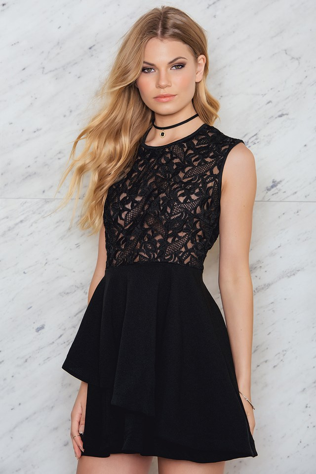Lace Frill Dress Black