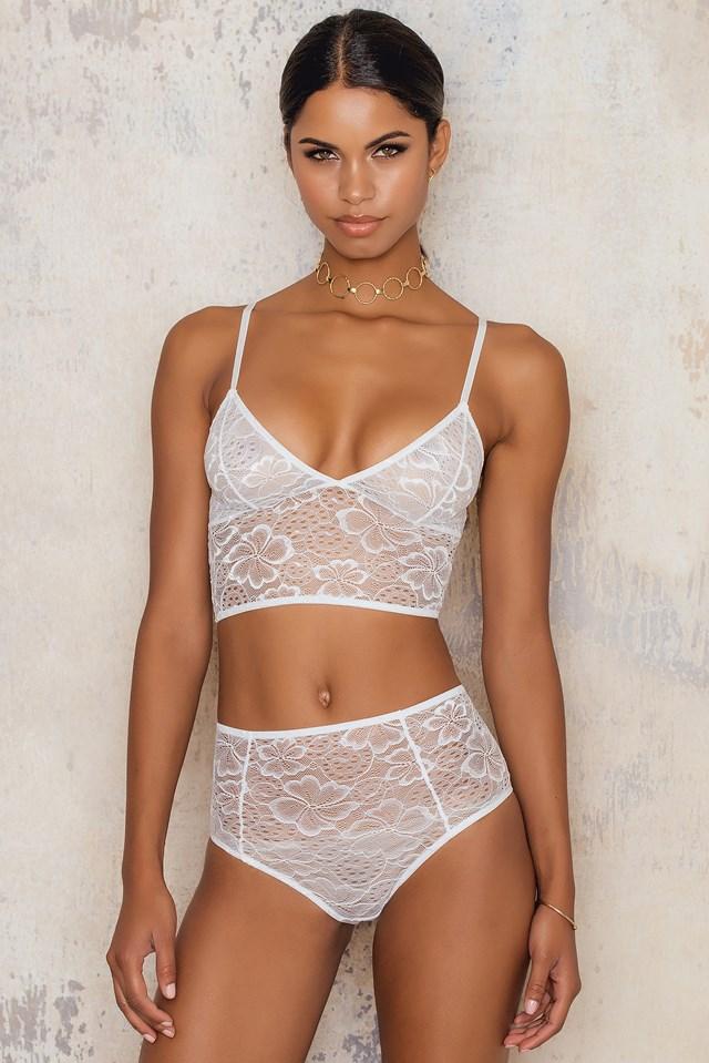 Lace Floral Longline Bra White