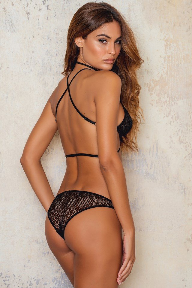 Strappy Lace Triangle Bra Black