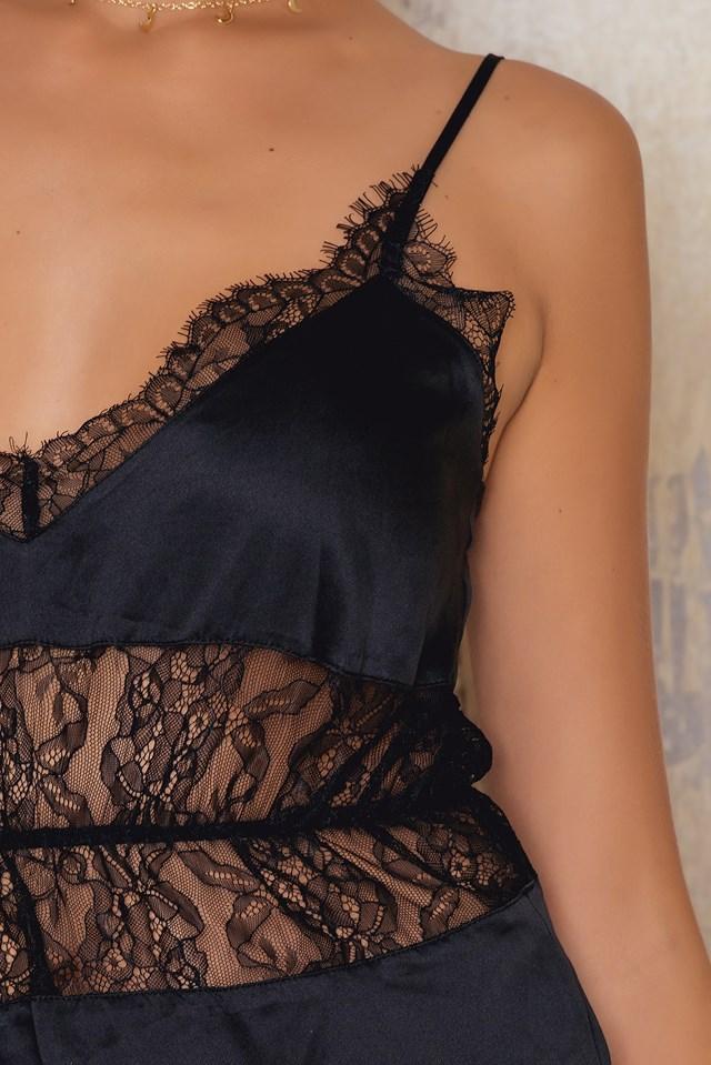 Lace Satin Lingerie Playsuit Black