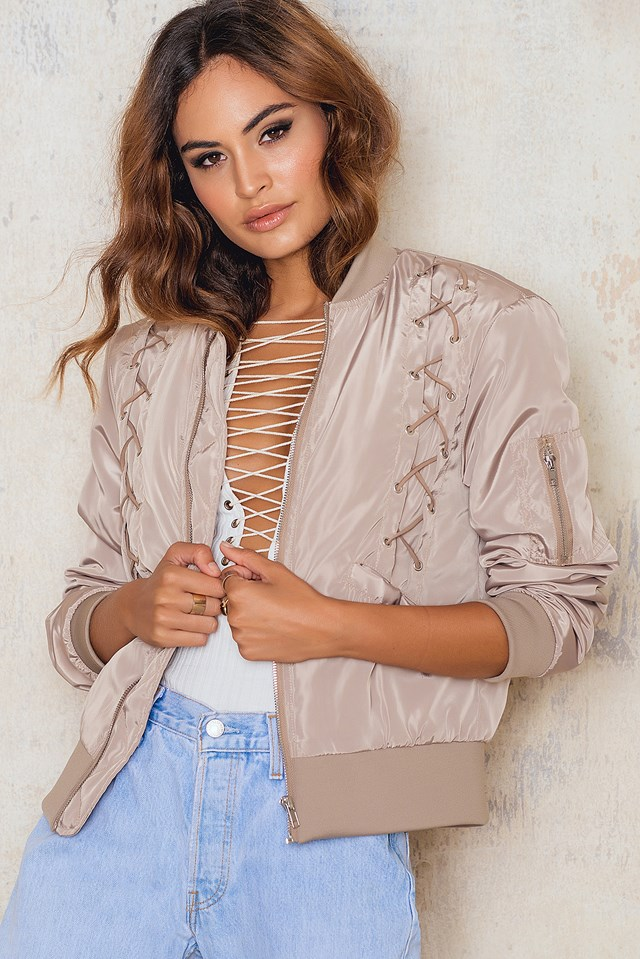 Lacing Front Bomber Jacket Beige