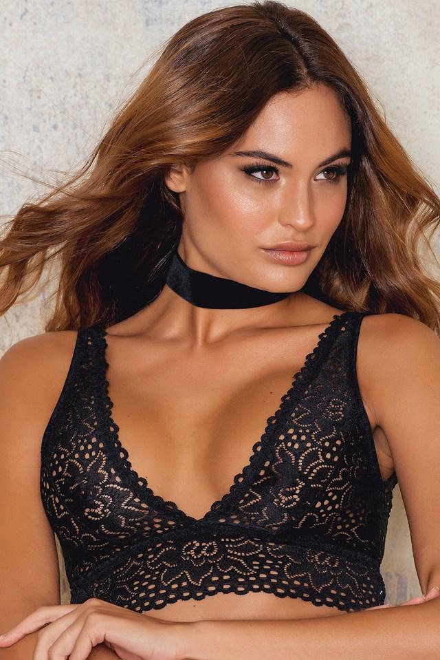 Deep V Lace Bralette Black