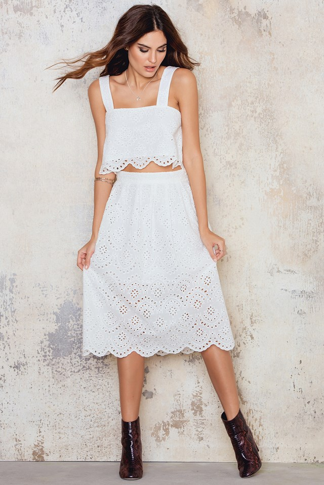 Embroidery Cropped singlet White