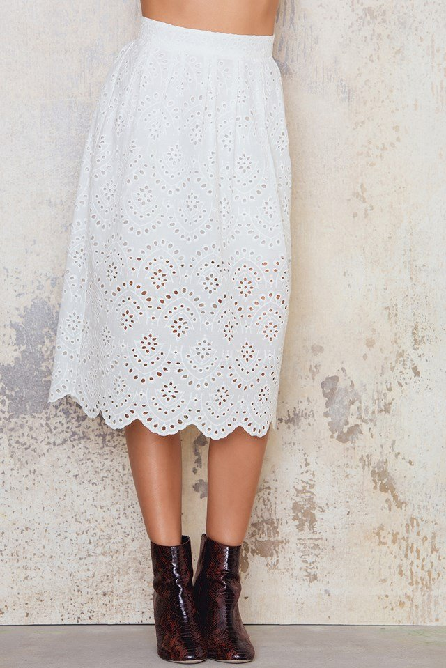 Embroidery Skirt White