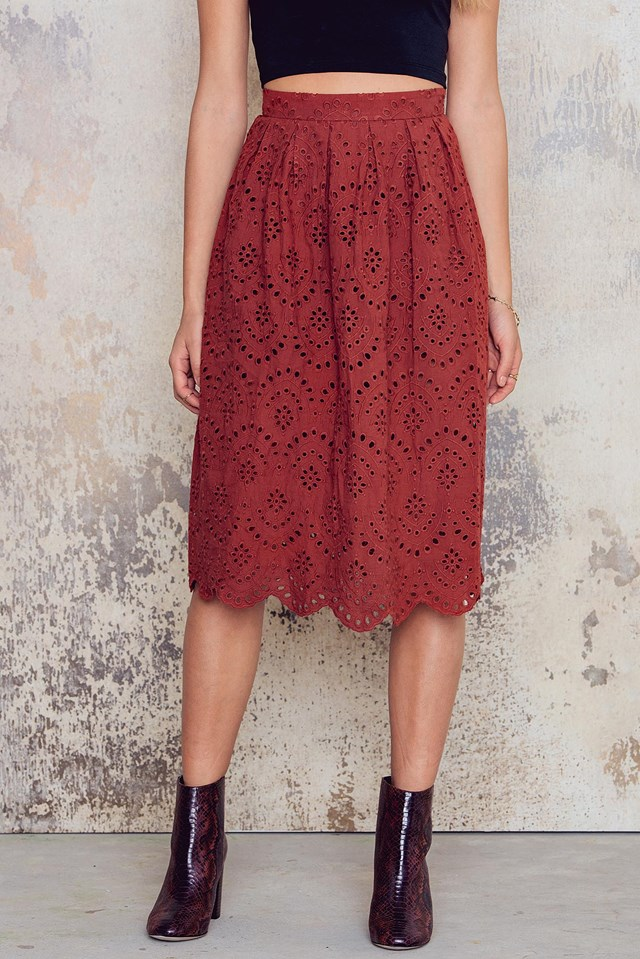 Embroidery Skirt Red