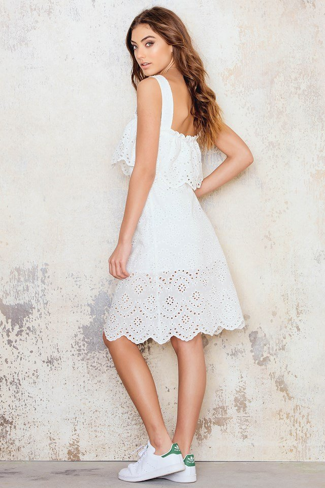 Embroidery Two Layer Dress White