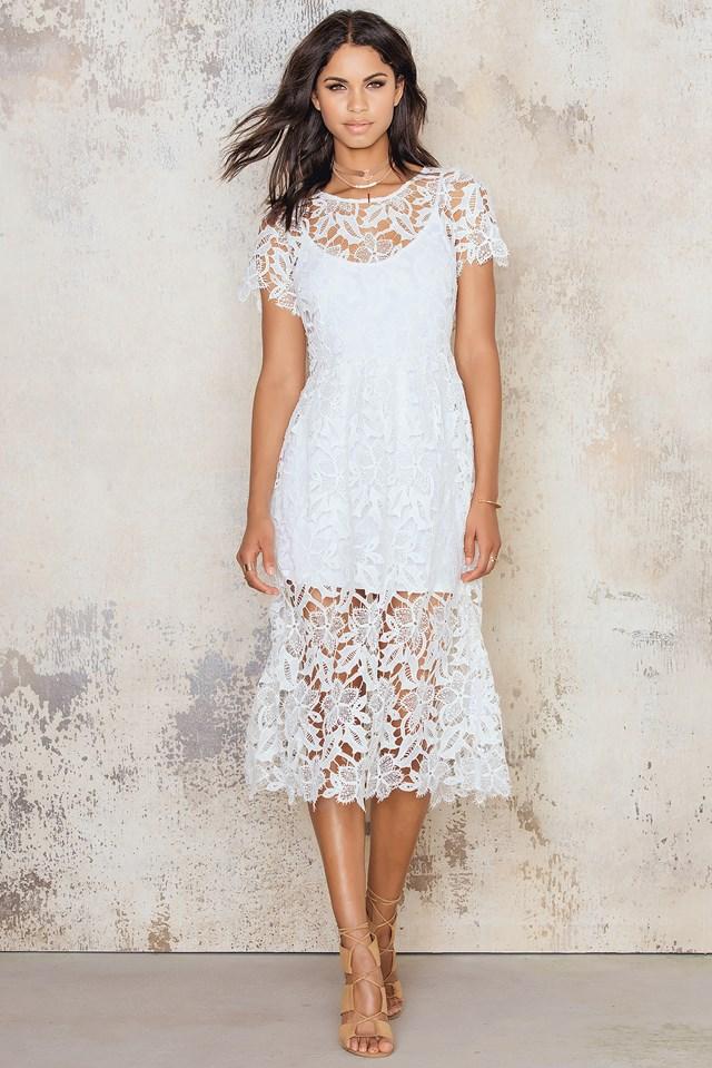 Crochet Midi Dress White