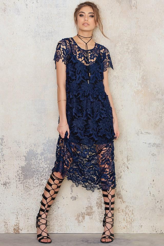 Crochet Midi Dress Blue