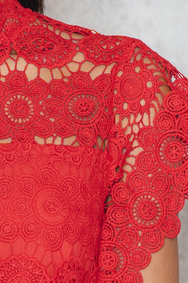 Crochet High Neck Top Red