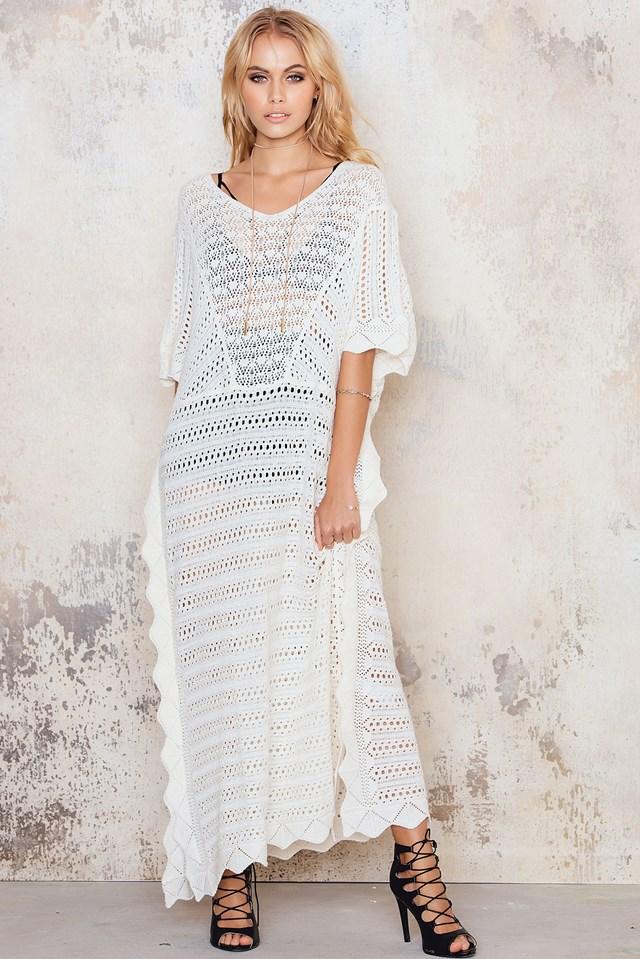 Crochet Boho Maxi Caftan White
