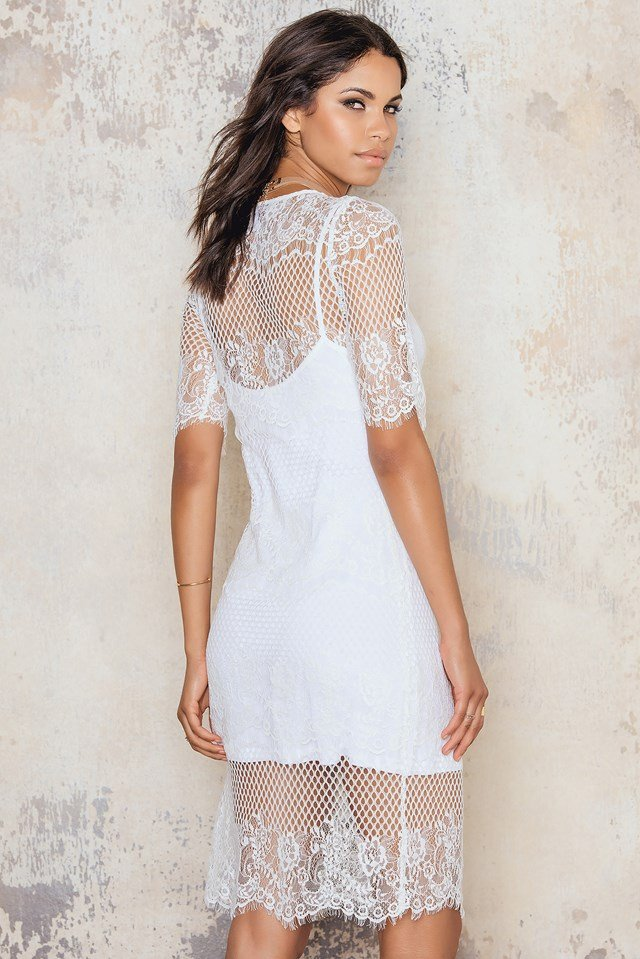 Lace Midi Dress White