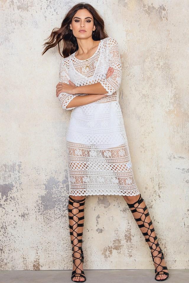 Midi Panel Lace Dress White