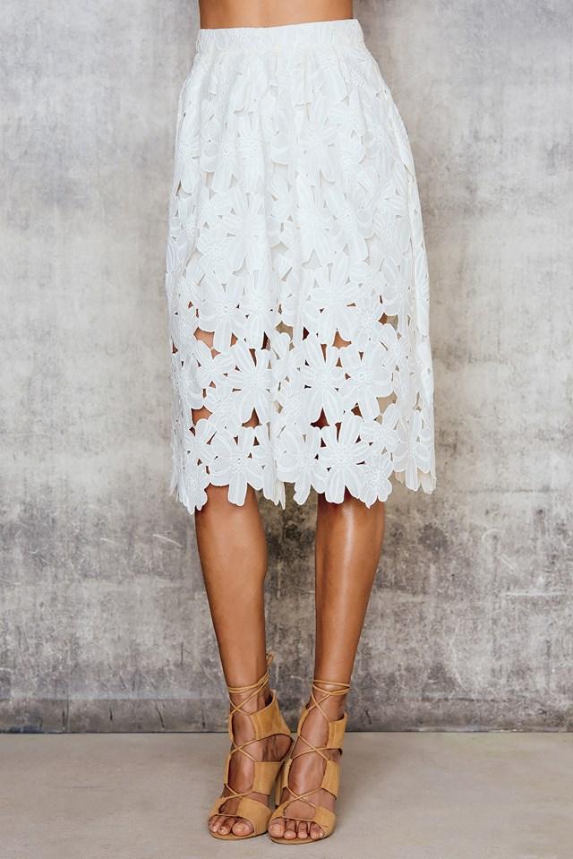 Floral Midi Skirt White