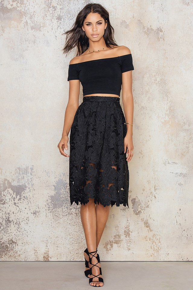Floral Midi Skirt Black