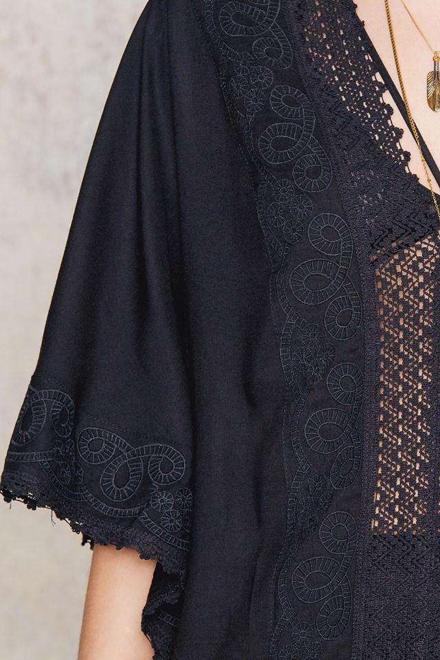 Embroidery Caftan Black