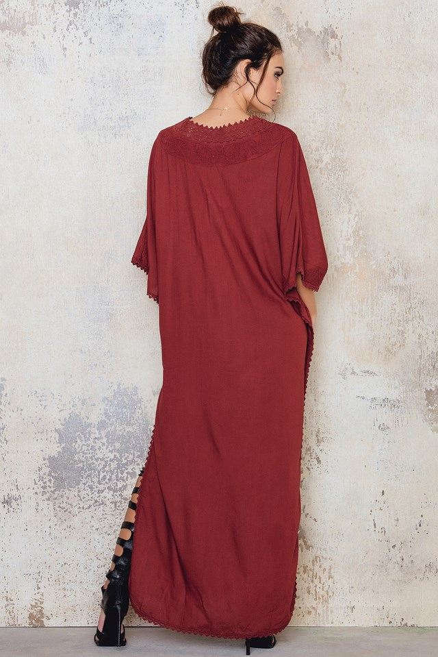 Embroidery Caftan Dark Red