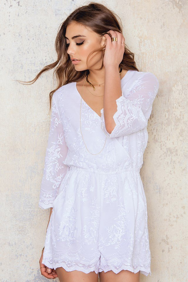 All Over Embroidery Playsuit White