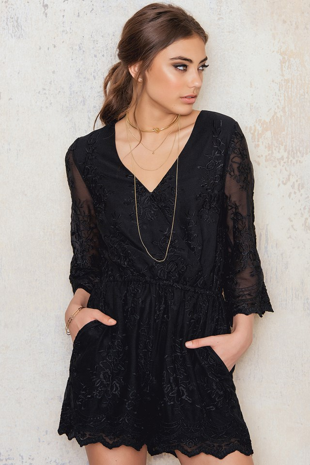 All Over Embroidery Playsuit Black