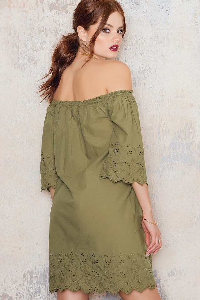 Off Shoulder Embroidery Tunic Army Green