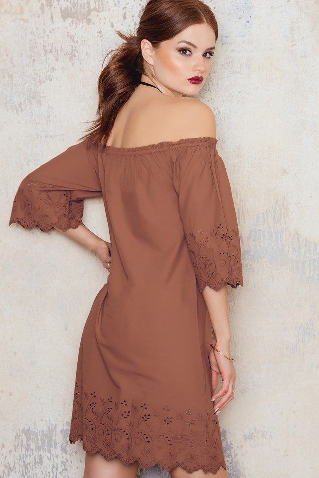 Off Shoulder Embroidery Tunic Terracotta