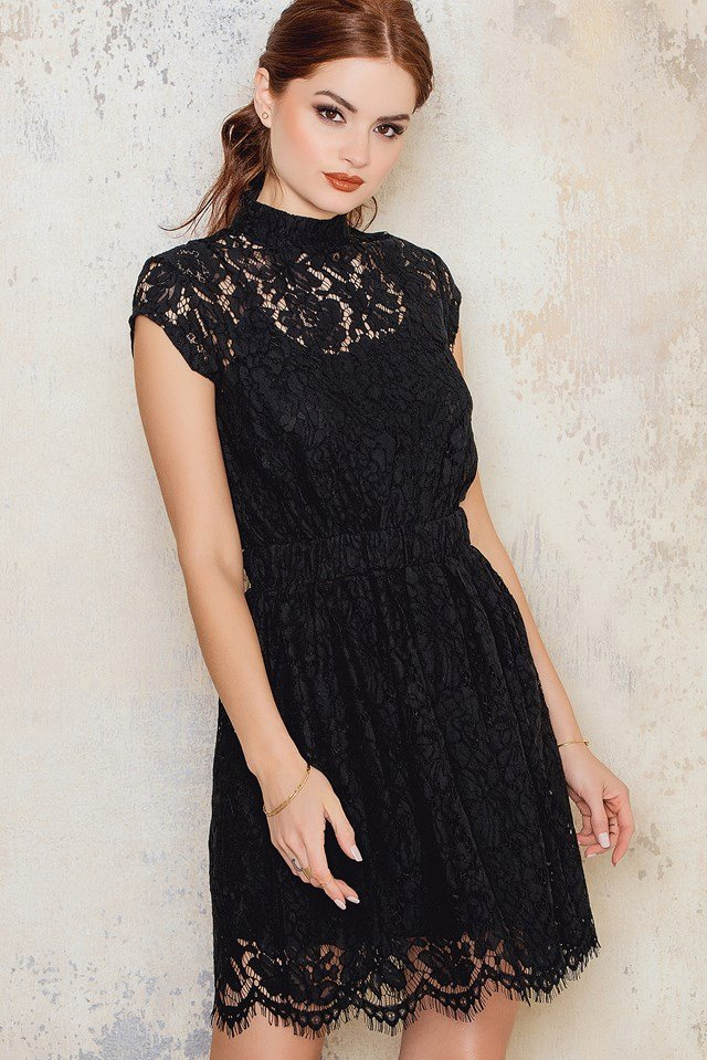 High Neck Lace Dress NA-KD.COM
