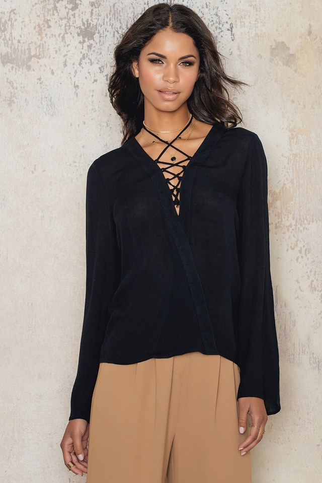 Front Overlapped Lacing Blouse Black