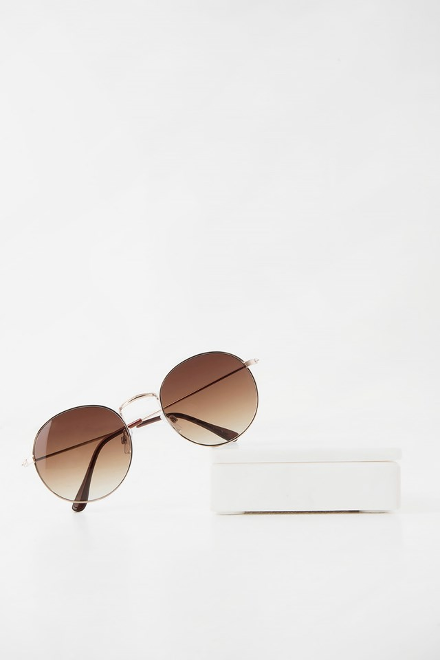 Rounded Sunglasses Brown