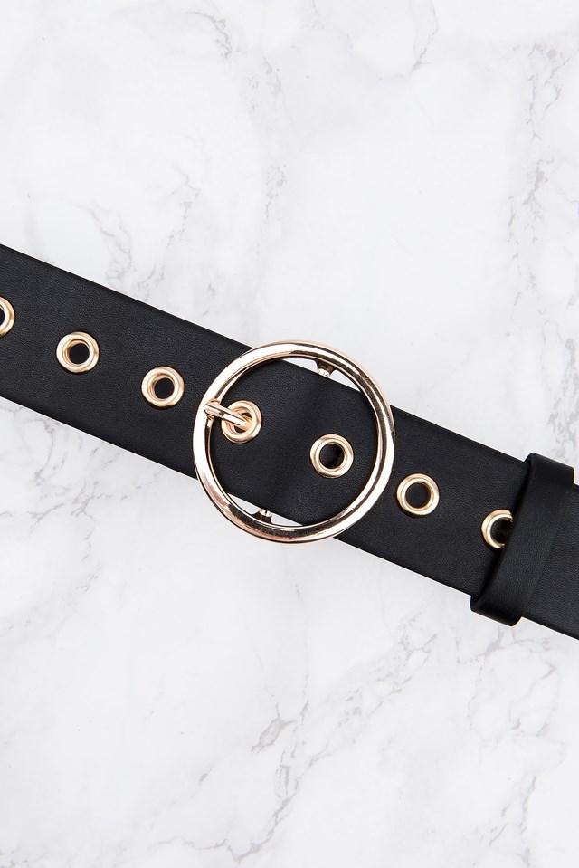 Metal Ring Waist Belt Gold/Black