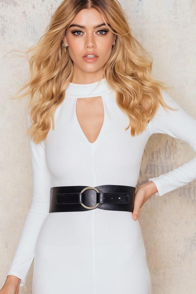 Wide Ring Belt Black/Silver