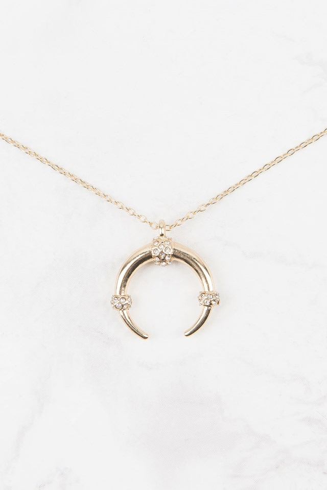 Stone Crescent Necklace Gold