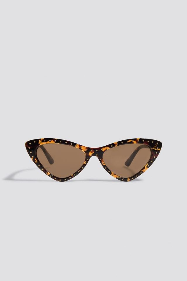 Studded Cat Eye Sunglasses Tortoise