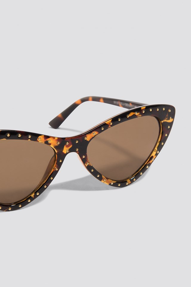 Studded Cat Eye Sunglasses Tortoise